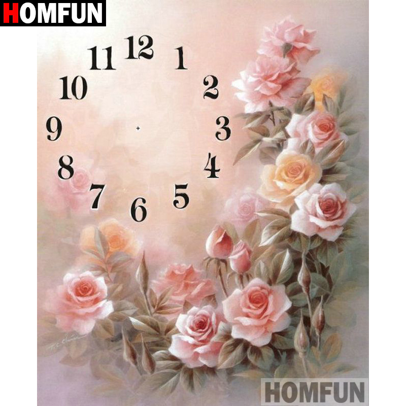 HOMFUN 5D Diamond Pattern Rhinestone Needlework Diy Painting Cross Stitch Clock flower Embroidery A21385