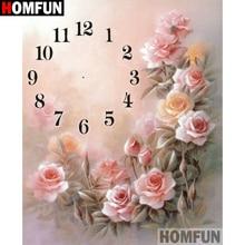 HOMFUN 5D Diamond Pattern Rhinestone Needlework Diy Painting Cross Stitch Clock flower Embroidery A21385