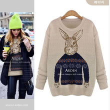 Mr Rabbit Winter Fashion Cashmere Pullovers Sweater Knitted Batwing Vintage Sweaters All-match Lolita Lovely Sweater