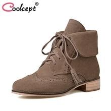 Coolcept/женские короткие ботинки Ботильоны из натуральной кожи женская обувь зимние Ленточки модная обувь женская обувь Размеры 33-41