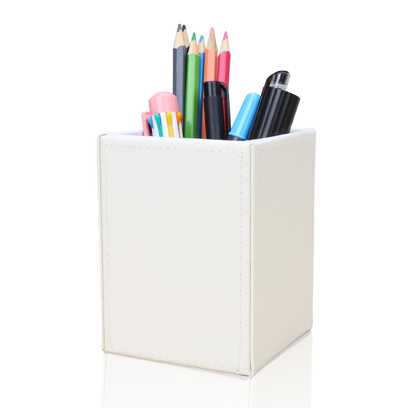 Image 3 - Square PU Leather Pen Pencil Holder Desk Organizer Office Desk Accessories A220 Pen Stand Pencil Box-in Stationery Holder from Office & School Supplies