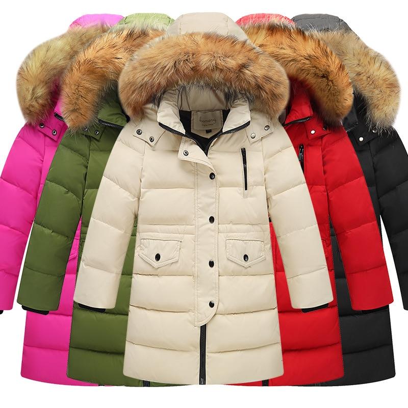 Новинка 2018 года; детский зимний теплый пуховик на утином пуху для девочек длинное пальто с большим меховым капюшоном для мальчиков Детский пуховик