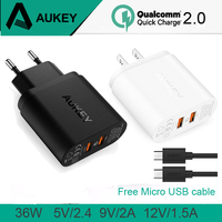 AUKEY 2 Ports Quick Charger 2.0 USB Smart Wall Charge Adaptive US EU Plug With 2 Micro Usb Data Cable For Sony LG iPhone Xiaomi