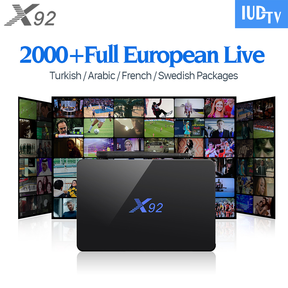 X92 French Arabic Europe IPTV TV Box Android 6.0 Smart 4K Set Top Box with HD IUDTV IPTV France Italy UK Sweden Spain Arabic hot x96 tv box 2gb 16gb s905x quad core 2 4ghz wifi hdmi smart set top box with iudtv iptv abonnement french arabic iptv top box