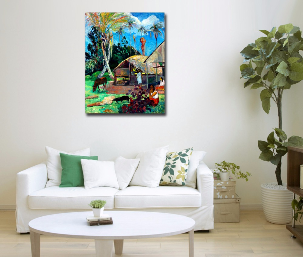 Animal Palm Tree And Black Pigs By Gauguin Famous Art Painting ...
