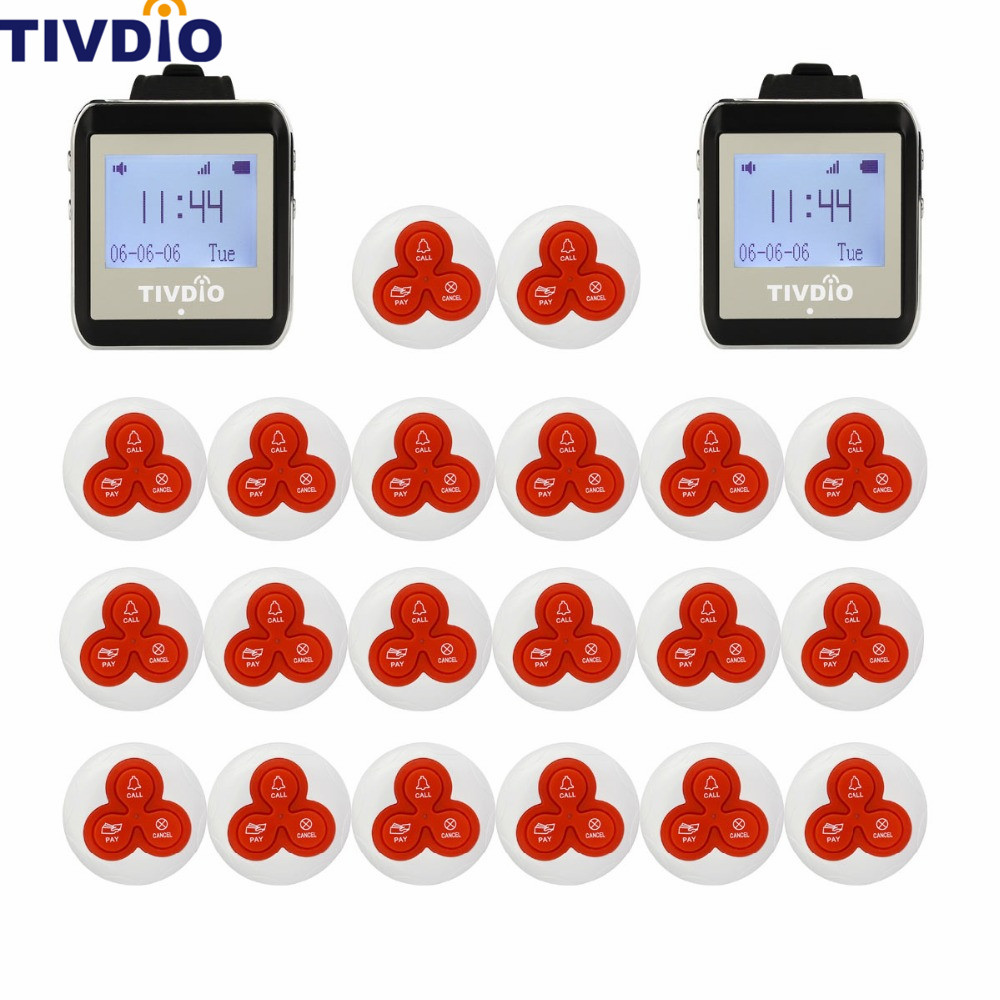 TIVDIO Wireless Watch Restaurant Coaster Pager Calling System Watch Guest For Hospital Waiter Nurse 433MHz Restaurants Equipment