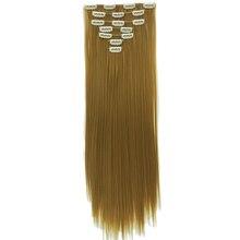 Soowee 15 Цветов Длинные Прямые Высокая Температура Волокна Синтетические Волосы Pad Черный Серый Клип В Наращивание Волос Полной Головки Мега волос