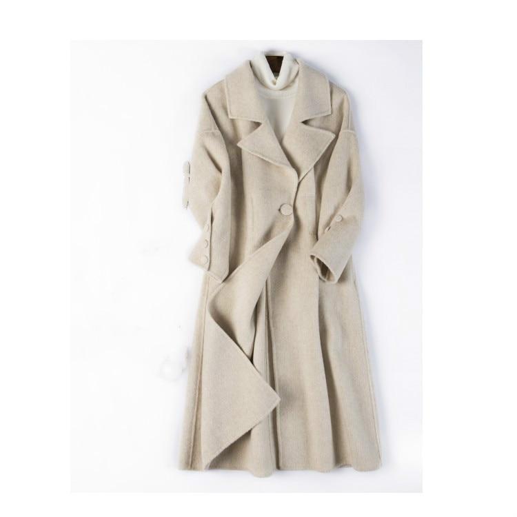 2018 nouvelle laine manteau solide couleur manteau femme long manteau de laine double-face cachemire laine manteau