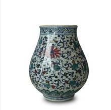 Jingdezhen ceramics porcelain vase painted Fu doucai ornaments Home Furnishing statue bottle tube