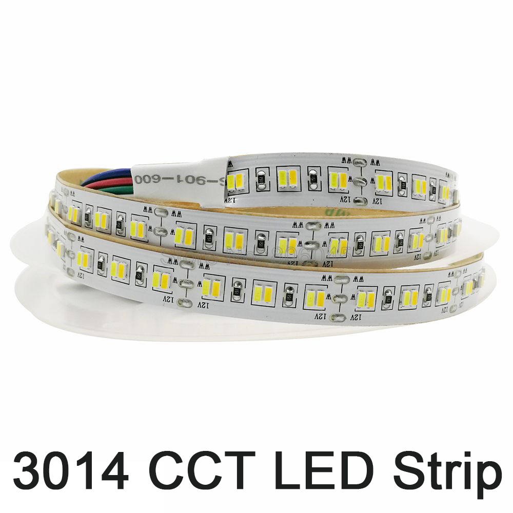 5M 12V 3014 SMD LED Strip 216LED/m Dual White Color Temperature Adjustable Flexible LED Tape CW/WW Strip IP20 Non-waterproof