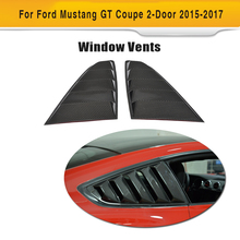 Carbon Fiber Side Vent Window Trims Covers Fender Louvers Shield Grills for Ford Mustang Coupe 2 Door 2015-2017 Black PP 2PCS