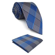 F23 Blue Grey Mens Ties Pocket Square Set X-long Silk Slim Skinny 6cm