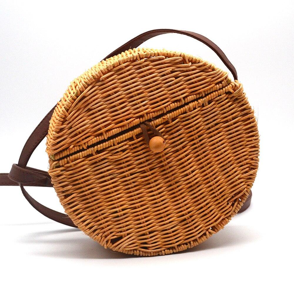 Vintage Design Chic Rattan Bag Summer Straw Handbags For Women Basket Beach Bag Girls Mesenger Bag Round Circle Crossbody Bag chic beige band cool summer lady style straw hat for women