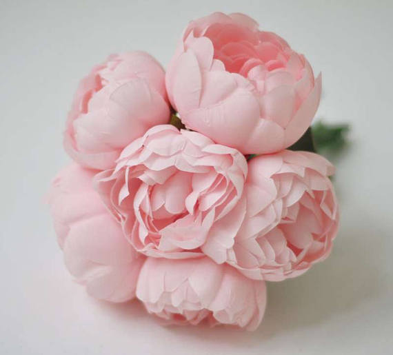 6pcs Silk Peonies Blush Pink Light Bridesmaid Bouquets Wedding Flowers Not Real Touch