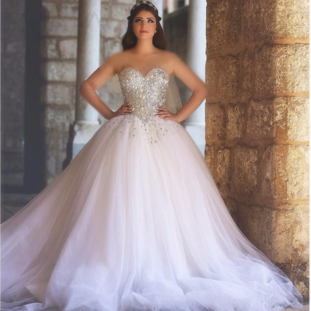 Ball Gown Sweetheart Long Wedding Dresses Sweetheart Beaded Pearls Bodice  Princess Arabic Wedding Gowns Corset Back Sparkly 64b84e8998e4