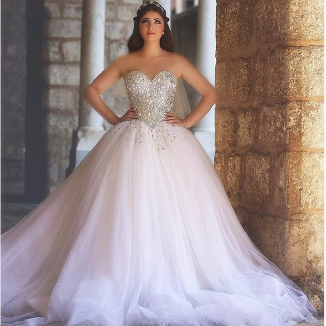 2324a27f7574 Ball Gown Sweetheart Long Wedding Dresses Sweetheart Beaded Pearls Bodice  Princess Arabic Wedding Gowns Corset Back Sparkly
