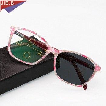Transizione Sole Fotocromatiche Occhiali Da Lettura Women Gatto occhiali da vista In Acetato Multi-Focal Progressive Occhiali фото