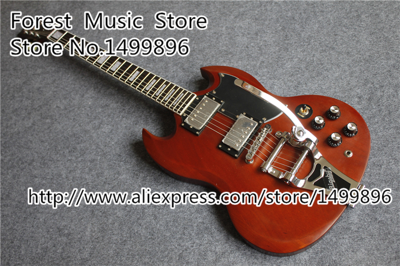 Matte Finish SG Electric Guitars Chinese Mahogany Guitar Body With Chrome Bigsby Free Shipping brand new angus young sunburst sg electric guitar brown custom free shipping chrome hardwares