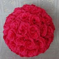 Élégant rouge Rose artificielle soie fleur boule pendante boules à baiser 10 polegada 25 CM billes pour mariage Party Decoration fournitures