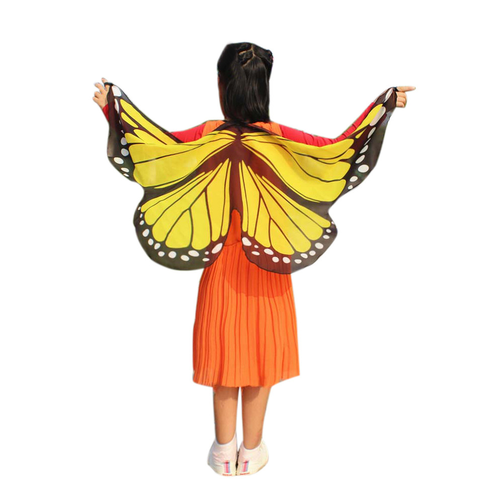 Newly Design Butterfly Wings Pashmina Shawl Kids Boys Girls Costume Accessory #A(China)