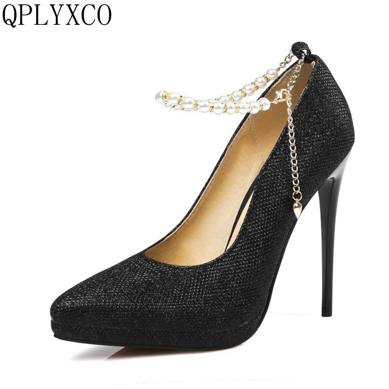 QPLYXCO Big size 31-45 High Heels Women Pumps Pointed toe see through Party Wedding stiletto shoes woman 12cm thin heels 10-21 women high heels big