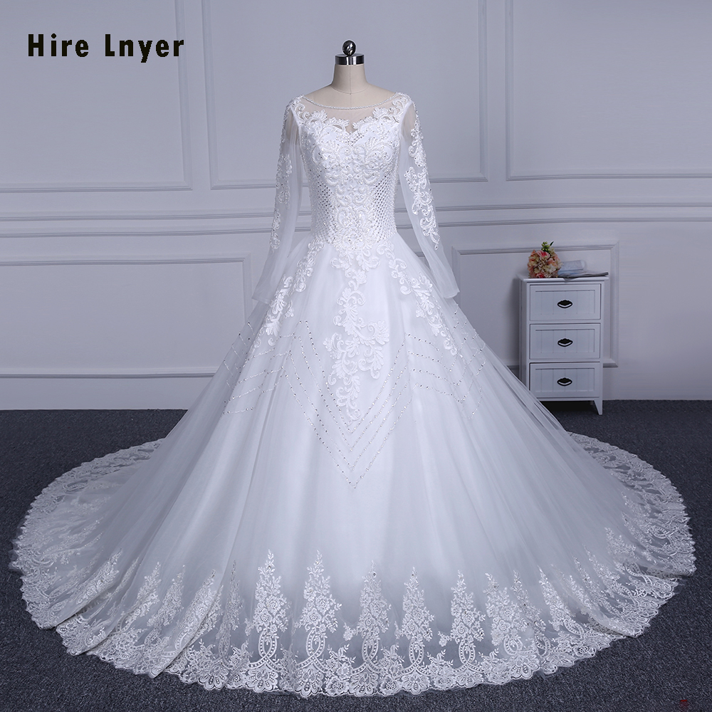 HIRE LNYER 2019 Long Sleeve Lace Up China Bridal Gowns