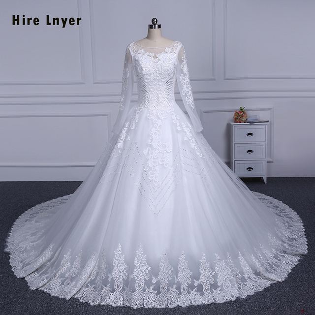 734c2a34866 HIRE LNYER 2019 Long Sleeve Lace Up China Bridal Gowns Mariage Full Beading  Sequins A-line Wedding Dresses Plus Size Brautkleid
