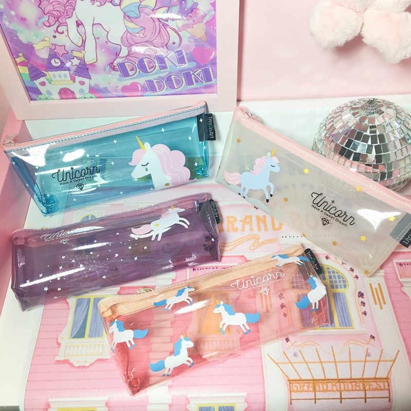 1 pçs/vender kawaii lápis caso dos desenhos animados bonito rosa unicórnio padrão escola material de escritório papelaria estudante dia das bruxas presente