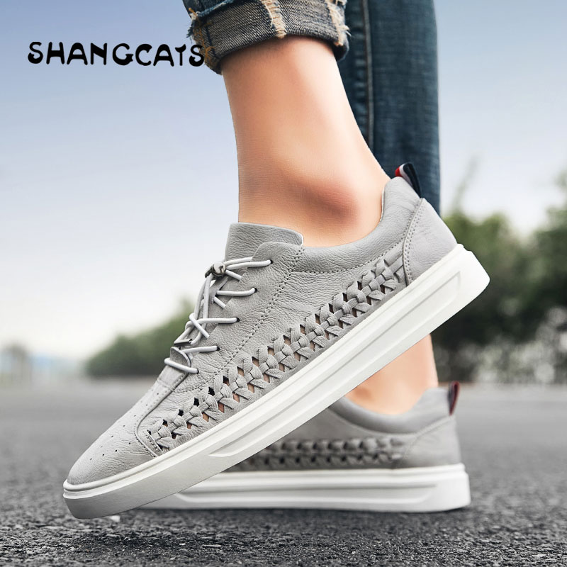 Top Quality Men s Footwear Vulcanized Shoes For Men Autumn Hand Weaving Classical White Leather Simple