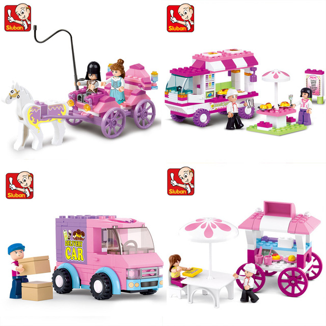 SLUBAN Girl Friends Snack Car Delivery Dining Travel Model Building Blocks Figure Toys