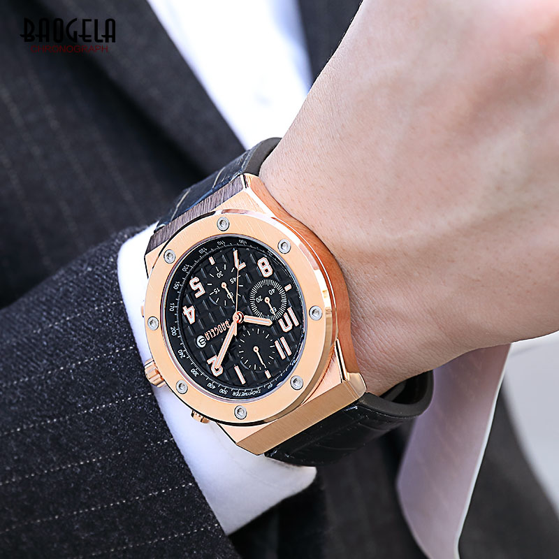 Image 5 - BAOGELA Men's Chronograph Quartz Watches 2019 New Waterproof Sports Casual Wrist Watch Man Leather Strap Clock 1805 Rose black-in Quartz Watches from Watches