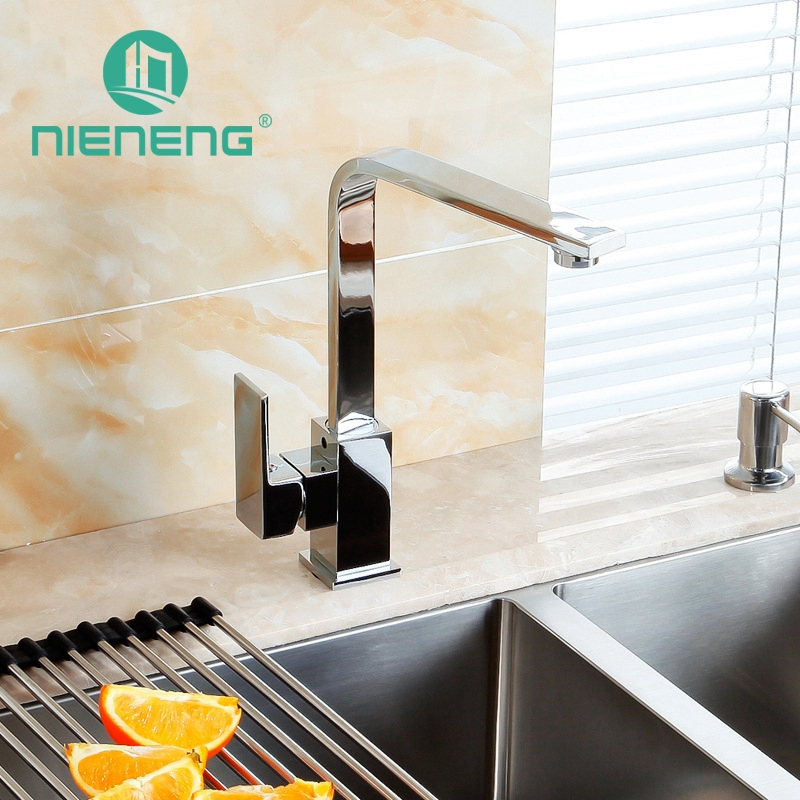 Nieneng Cheap Kitchen Faucet Sink Mixer Antique Brass Faucet Chrome Faucet Spout Swivel Single Handle Deck Mount ICD60323 new pull out swivel chrome brass kitchen faucet spout vessel basin sink single handle deck mounted mixer tap mf 446