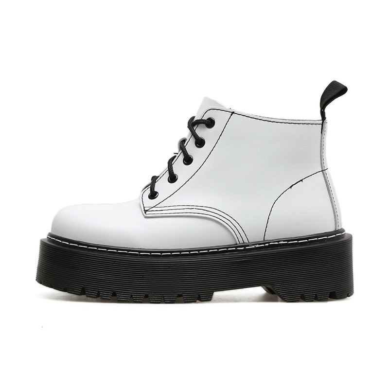 2018 New British Punk Retro Short Upper Thick Sole Shoes Boots Female European American Round Toe Leather Boots Flat Shoes in Ankle Boots from Shoes