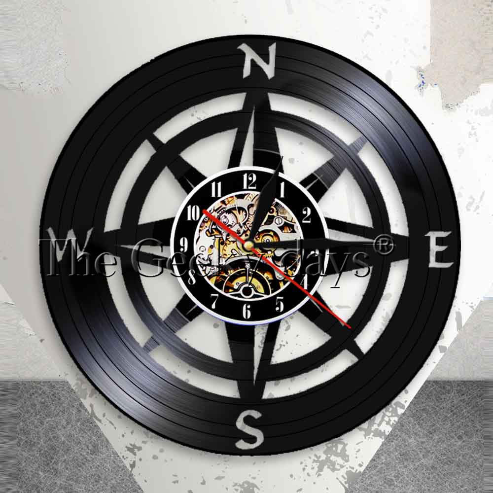 Windrose Compass Wall Art Modern Design Wall Clock Navy Home Decor Vinyl Record Wall Clock Nautical Compass Clock Wall Watch