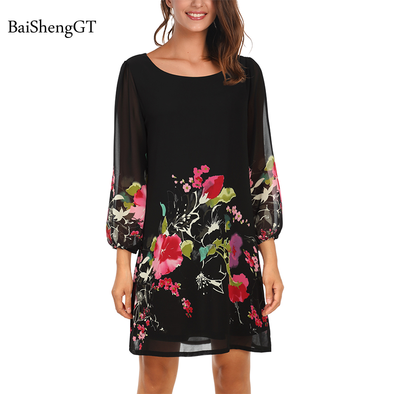 Summer Women Dress 2018 Casual Ladies Party Dresses Floral print Boho  Chiffon Maxi Straight Loose fit Dress Plus Size vestidos 6b714898651d