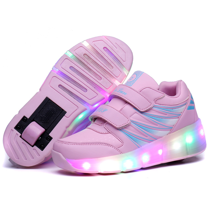 Eur 30-43// Children Tenis LED Sneakers Double Wheels Flame Buty Led Luminous Boys Girls Kids Roller Sneakers Glowing Sneakers new led glowing sneakers kids shoes 7 colors usb charge luminous sole with cute wings sneakers light up children shoes