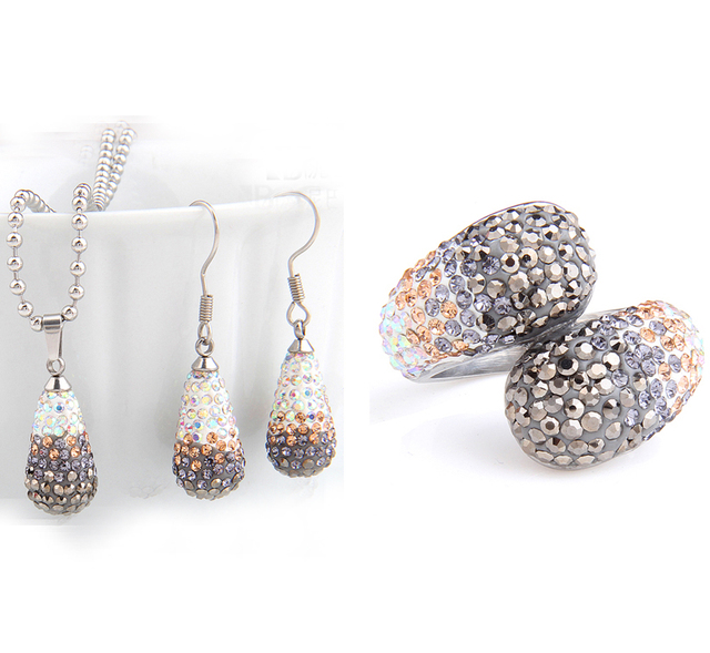 fashion Stainless Steel Jewelry wholesale Bling CZ crystal earrings necklace Ring Bridal Jewelry sets for Women