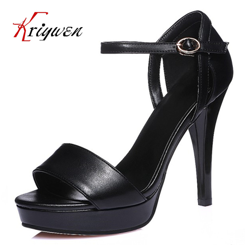 Big size 32-44 Summer new arrival 2016 sexy basic style women sandals high heels Lady Casual buckle dress party shoes for girl