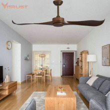 52-Inch Sleek Contemporary Ceiling Fan Blades No Light Brushed Nickel Industrial ceiling fan