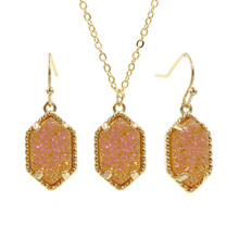 YJX Genuine Gold Color Hot Mini Iridescent Drusy Pendant Necklace With Drop Earrings Boutique Jewelry Sets azora rose gold color austrian crystals water drop twining with leopard riband earrings and necklace jewelry sets tg0194