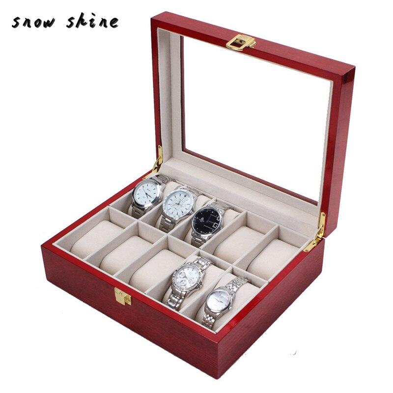 snowshine 3001 10 Slot Cherry Wood Watch Display Case Glass Top Jewelry Storage Box Gifts