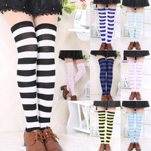 Striped Cotton High Over the Knee Socks