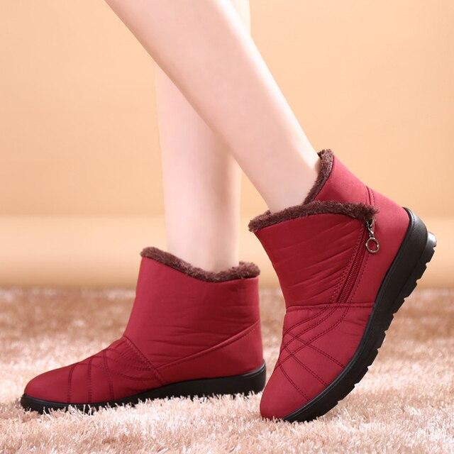 Women Winter Female Zipper Waterproof Snow Ankle Anti Slip Plush Ladies Shoes Bottes