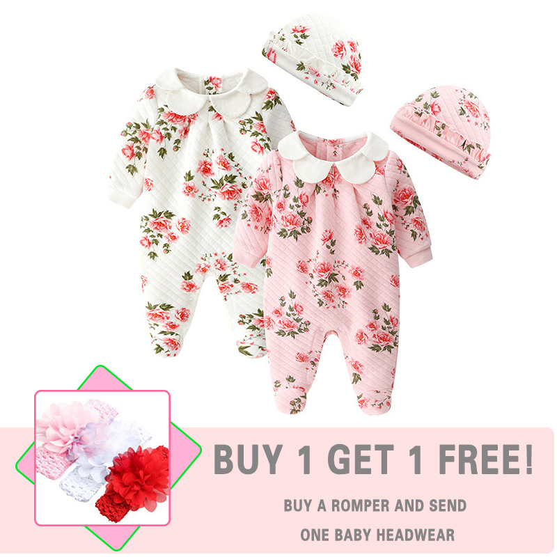 Floral Girls Baby Clothing Cotton Newborn Baby   Rompers   Long Sleeve New Born Baby Clothes Hats Autumn Winter Infant Costume