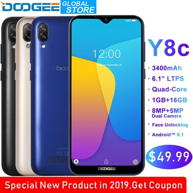 Original DOOGEE Y8c Android 9.0 6.1inch Waterdrop LTPS Screen Smartphone MTK6580 1GB RAM 16GB ROM 3400mAh Dual SIM 8MP+5MP WCDMA