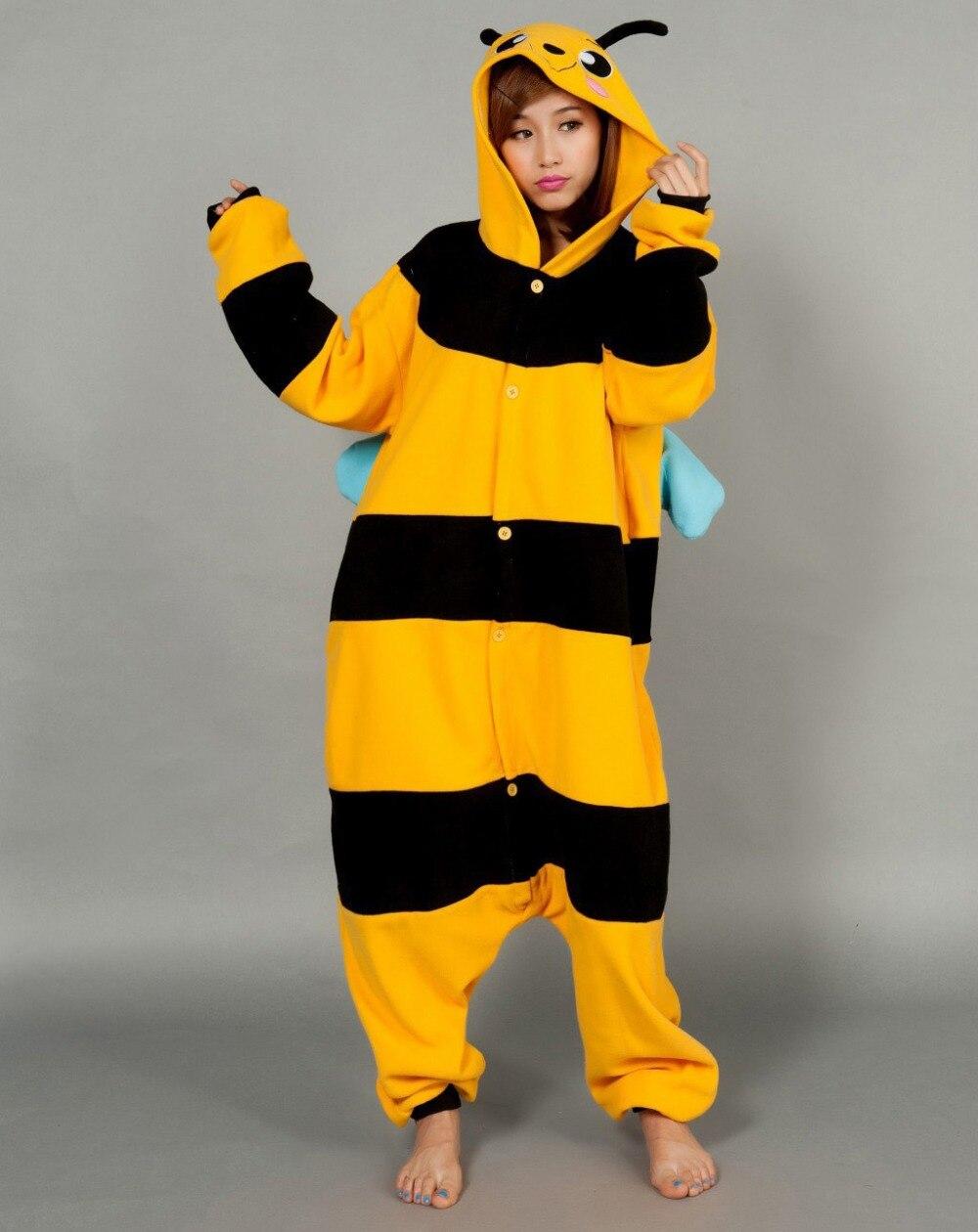 Fashion Anime Pyjama Onesie Animal Hooded Long Sleeve Cosplay Costomes for Adult Unisex Homewear Bee Sleepwear