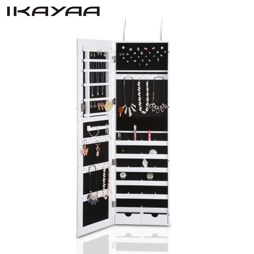 buy ikayaa fashion hanging jewelry box mirrored armoire cabinet doorwall mounted jewelry storage box makeup organizer storage from