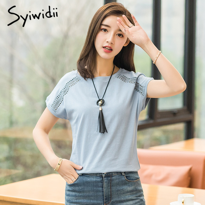 Oversized T Shirt Women Tshirt Batwing Sleeve Short Hollow Out Vintage Womens Clothing -5479
