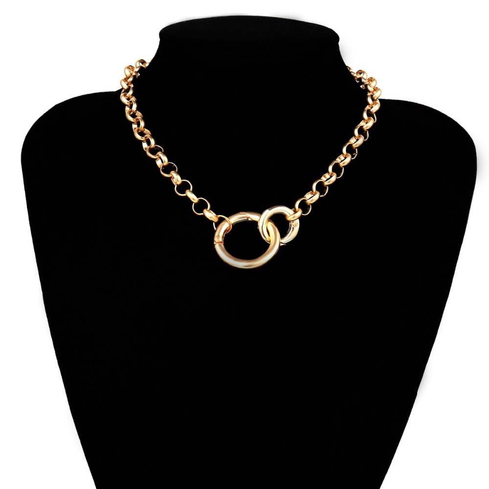 KMVEXO Vintage Punk Curb Chain Necklace for Women 19 New Gold Silver Big Round Pendant Collar Choker Sweater Chain Necklaces 14