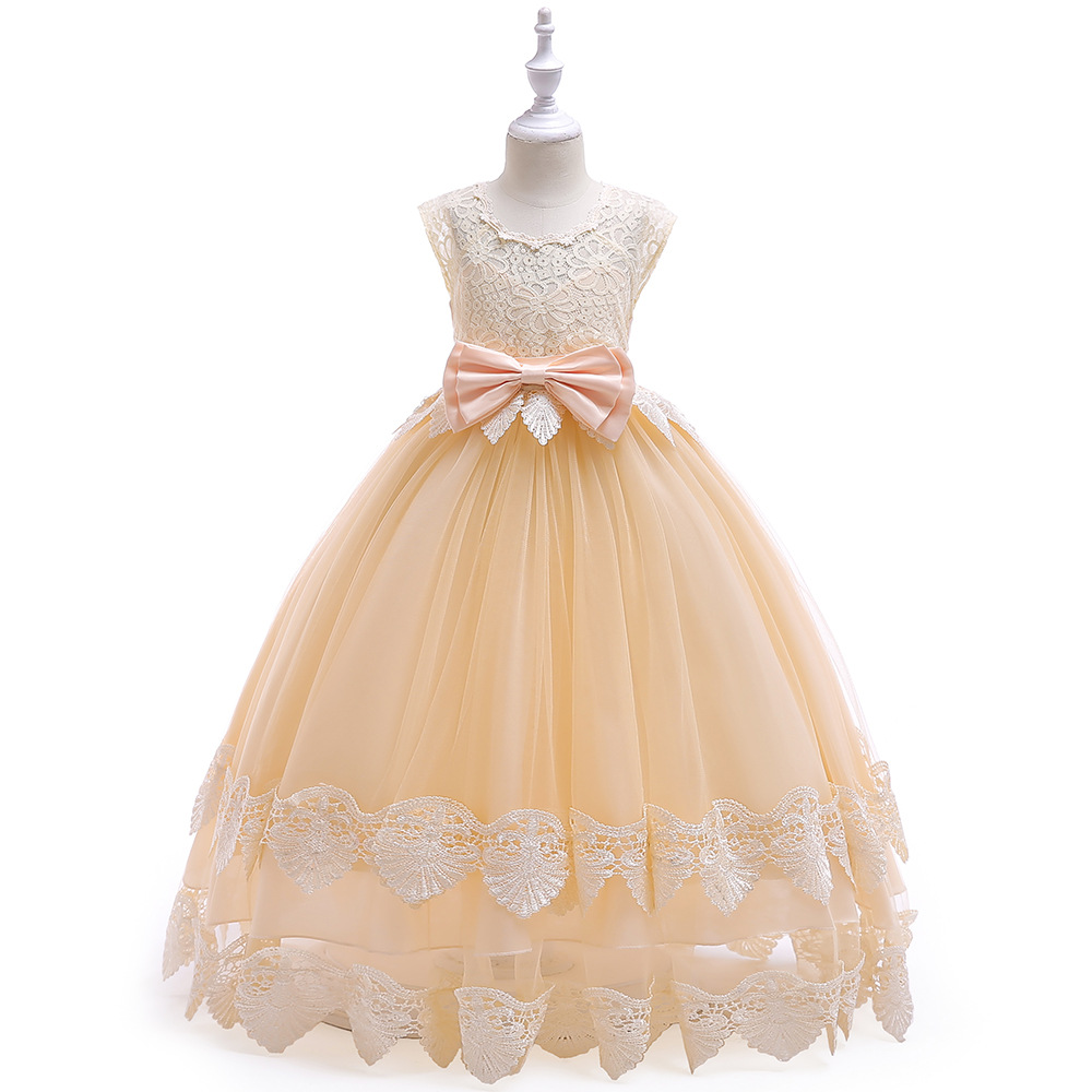 Fashion Gold Evening Party Pleat   Flower     Girl     Dresses   Many Colors Princess Ball Grown O-neck Sleeveless   Girls     Dress